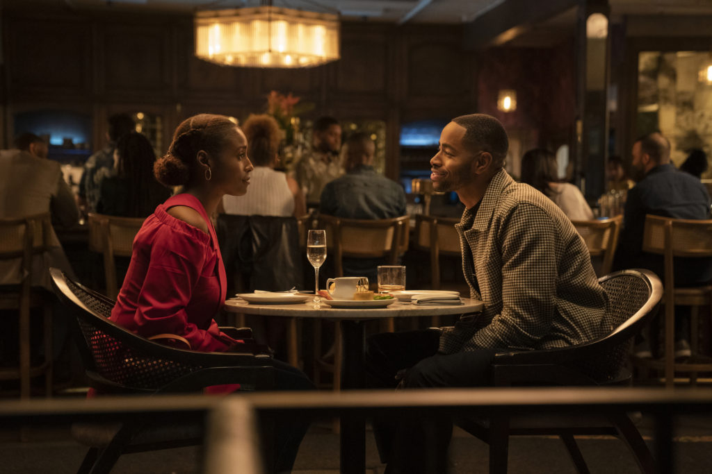 Issa Rae + Jay Ellis dinner scene during show INSECURE