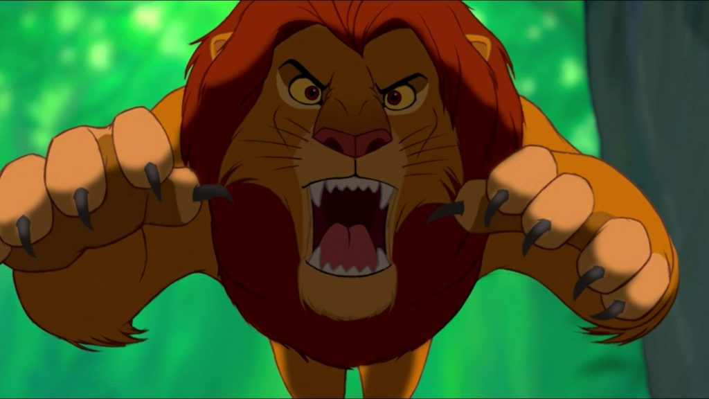 CHARACTER OF LION KING, ANGRY SIMBA IN JUMP