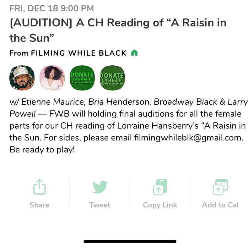 A Raisin in the Sun on Clubhouse Auditions